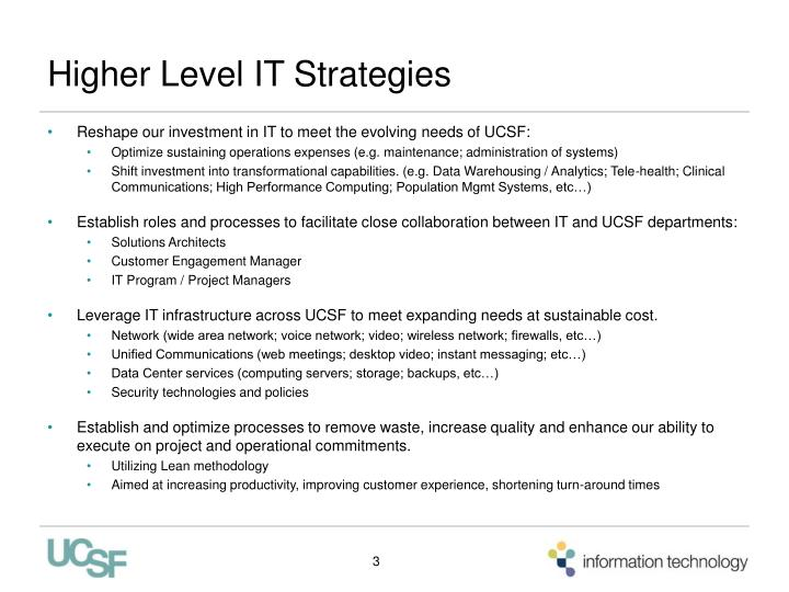 Higher Level IT Strategies