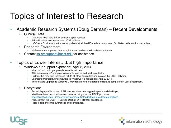 Topics of Interest to Research