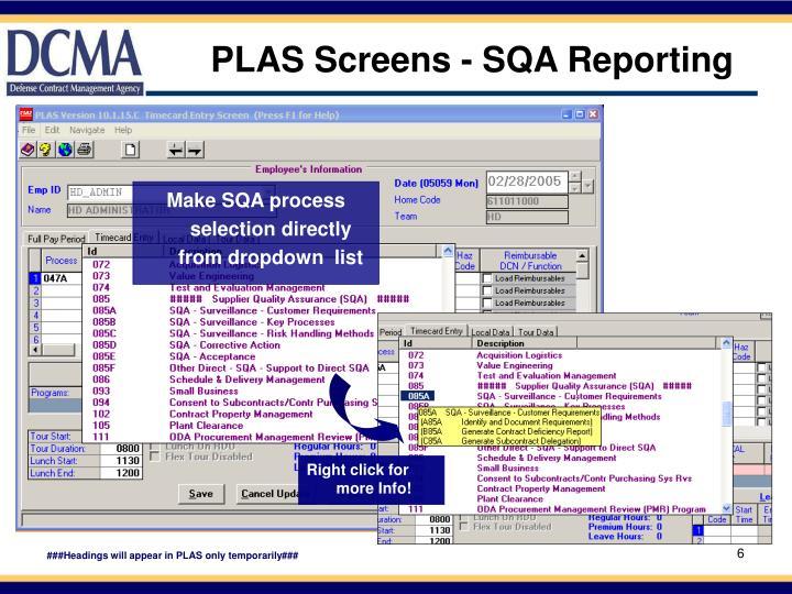 PLAS Screens - SQA Reporting
