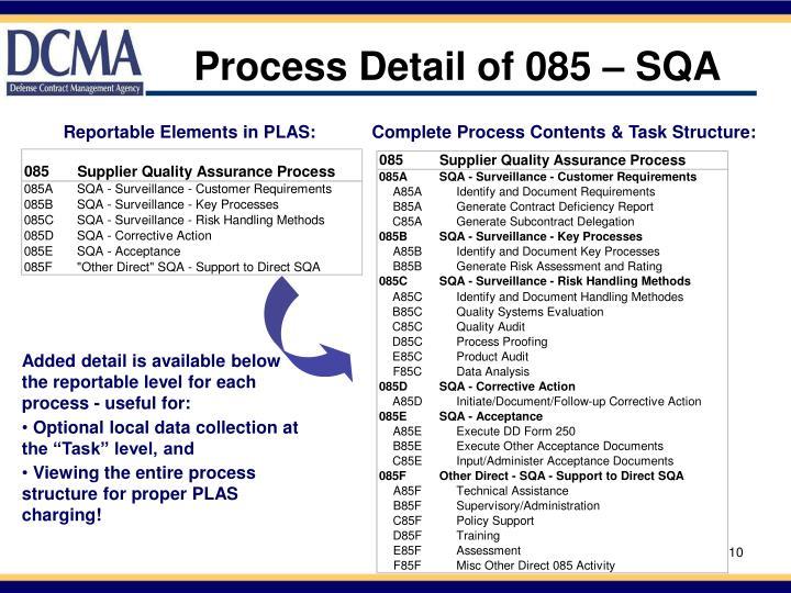 Process Detail of 085 – SQA