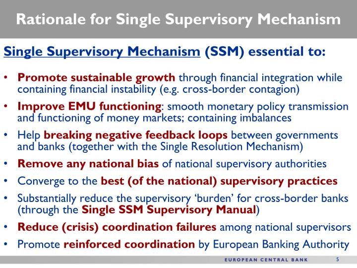 Rationale for Single Supervisory Mechanism