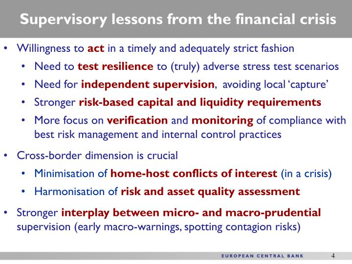 Supervisory lessons from the financial crisis