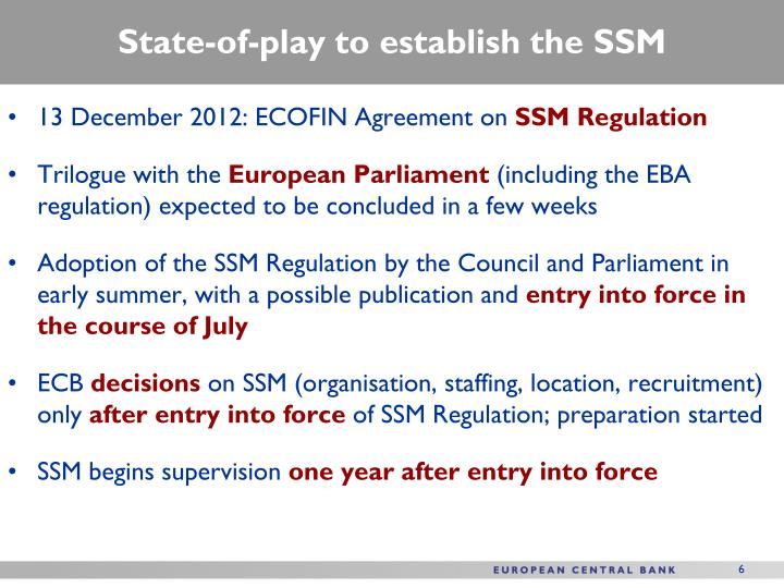 State-of-play to establish the SSM
