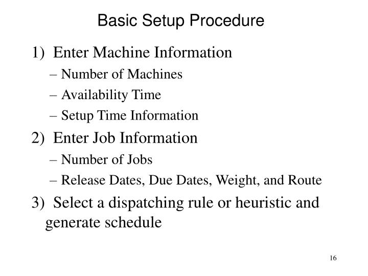 Basic Setup Procedure