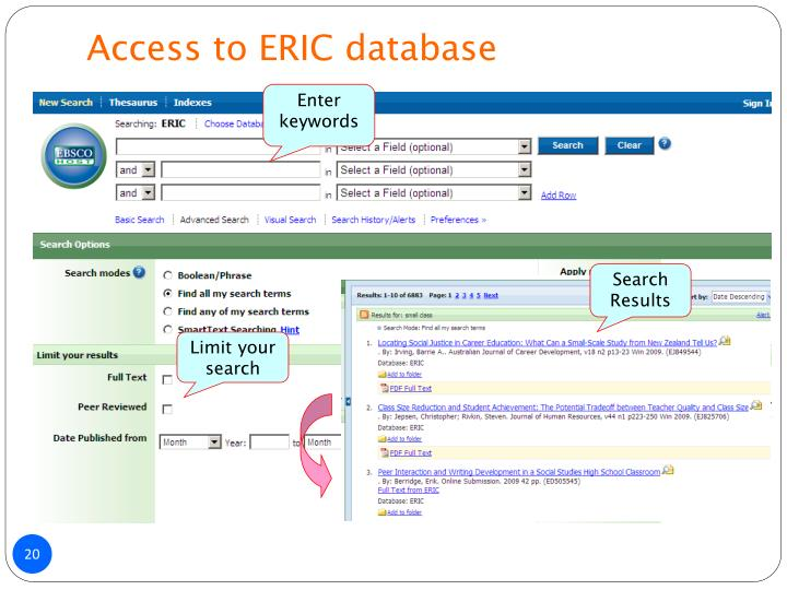 Access to ERIC database