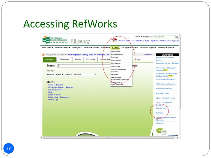 Accessing RefWorks