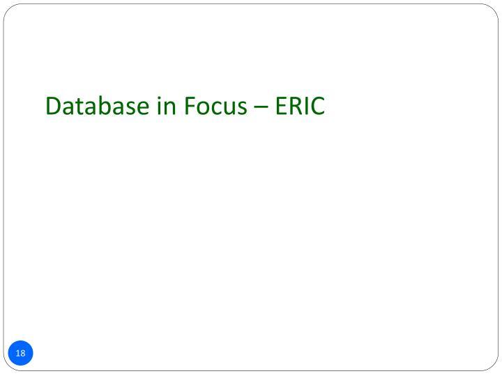 Database in Focus – ERIC