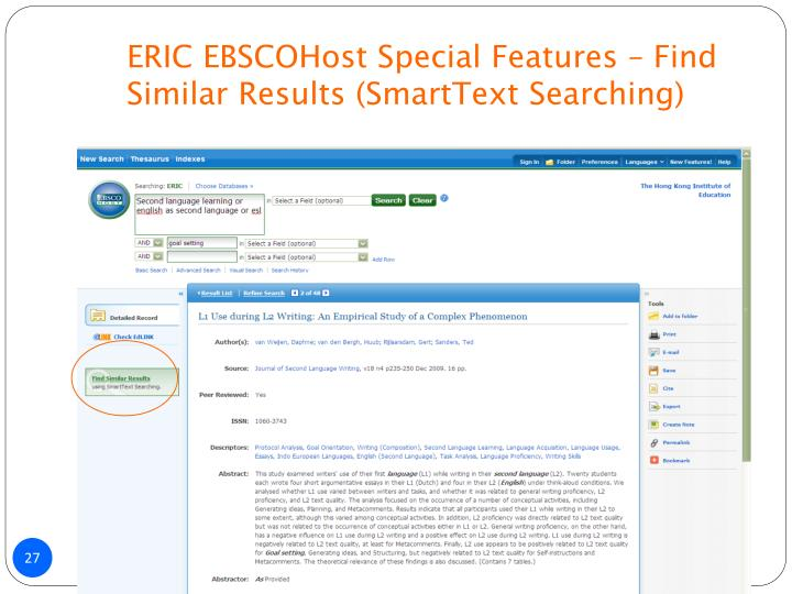 ERIC EBSCOHost Special Features – Find Similar Results (SmartText Searching)