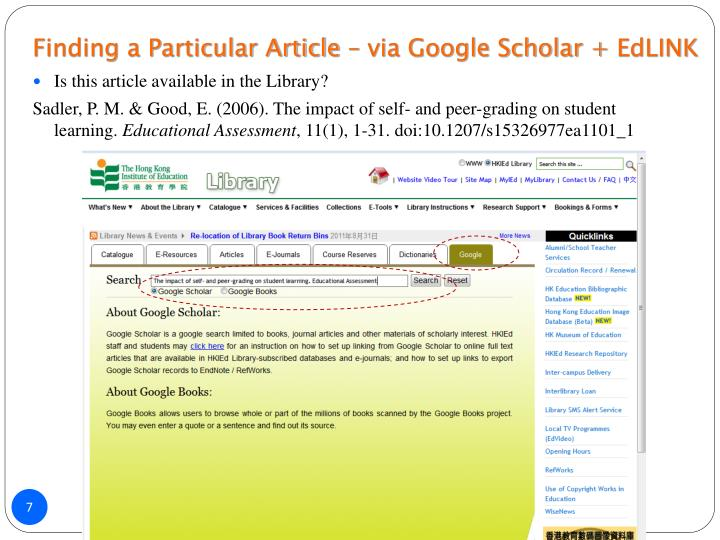 Finding a Particular Article – via Google Scholar +