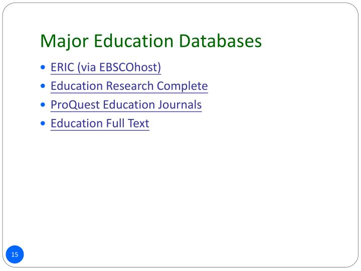 Major Education Databases