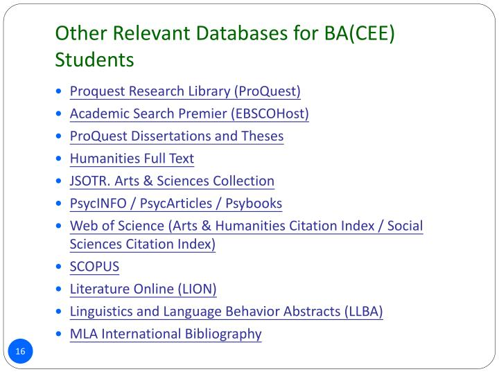 Other Relevant Databases for BA(CEE) Students