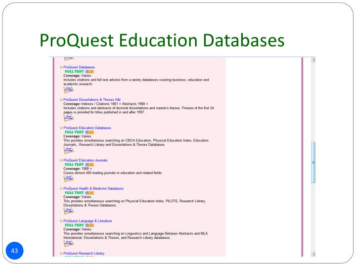 ProQuest Education Databases
