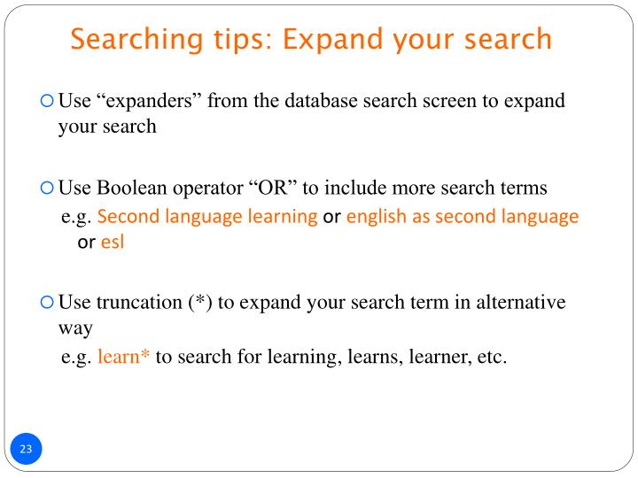 Searching tips: Expand your search