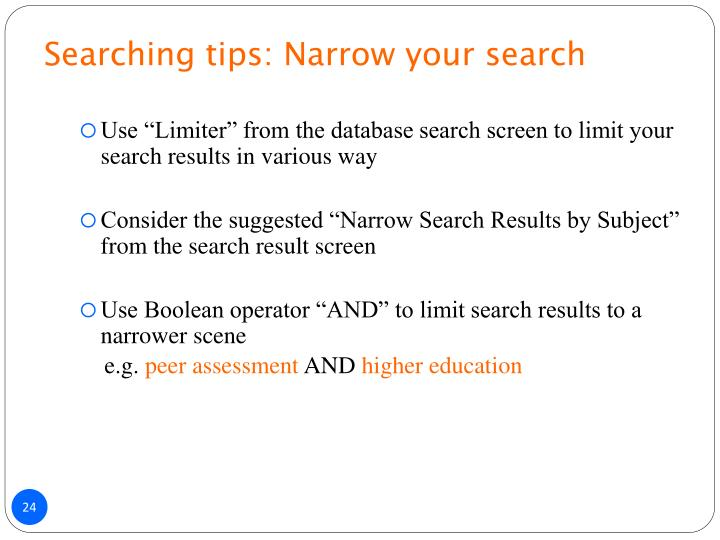 Searching tips: Narrow your search