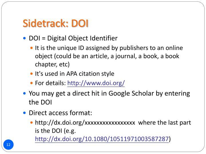 Sidetrack: DOI