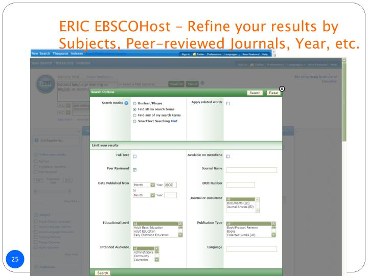 ERIC EBSCOHost – Refine your results by Subjects, Peer-reviewed Journals, Year, etc.