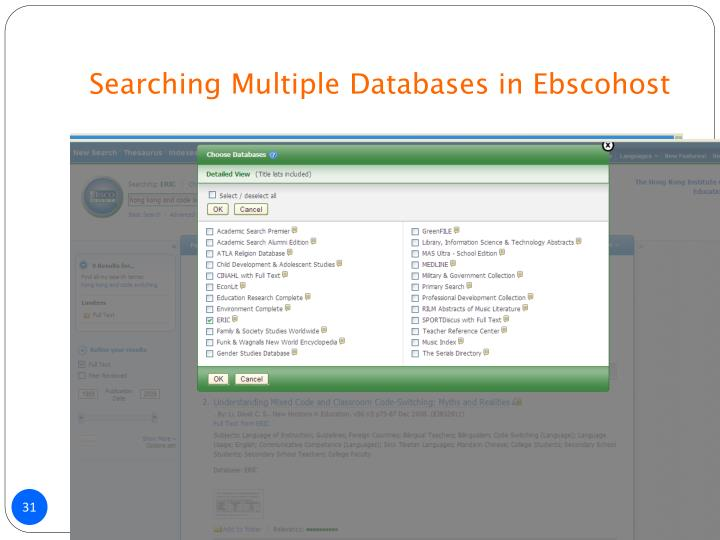 Searching Multiple Databases in Ebscohost