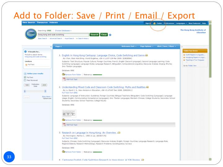 Add to Folder: Save / Print / Email / Export