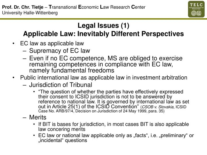 Legal Issues (1)
