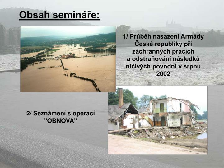 Obsah semináře: