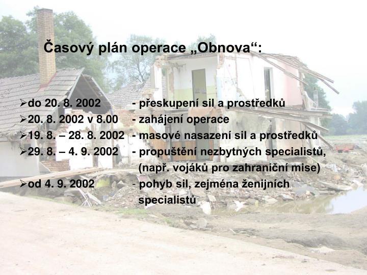 "Časový plán operace ""Obnova"":"