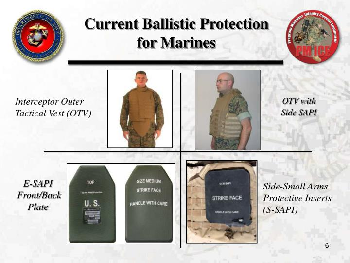 Current Ballistic Protection  for Marines