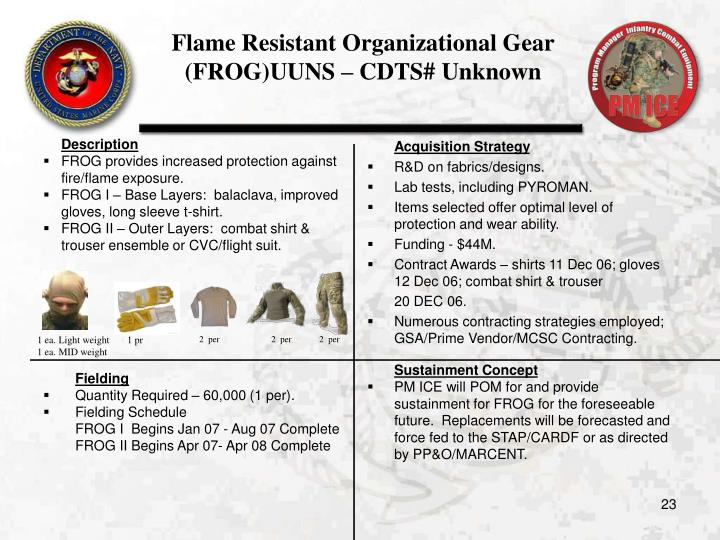 Flame Resistant Organizational Gear (FROG)UUNS – CDTS# Unknown