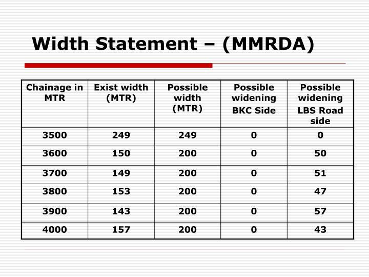 Width Statement – (MMRDA)