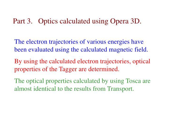 Part 3.   Optics calculated using Opera 3D.