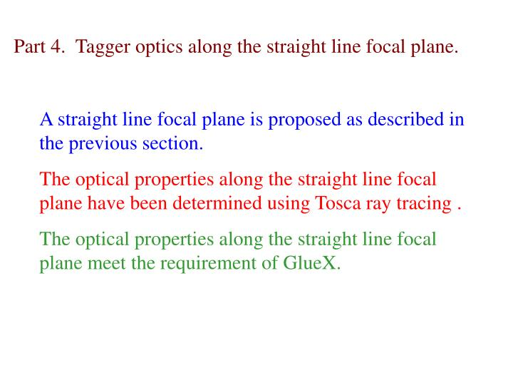 A straight line focal plane is proposed as described in the previous section.