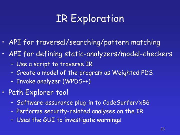 IR Exploration