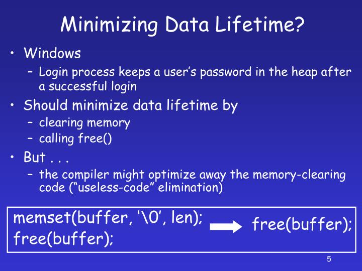 Minimizing Data Lifetime?