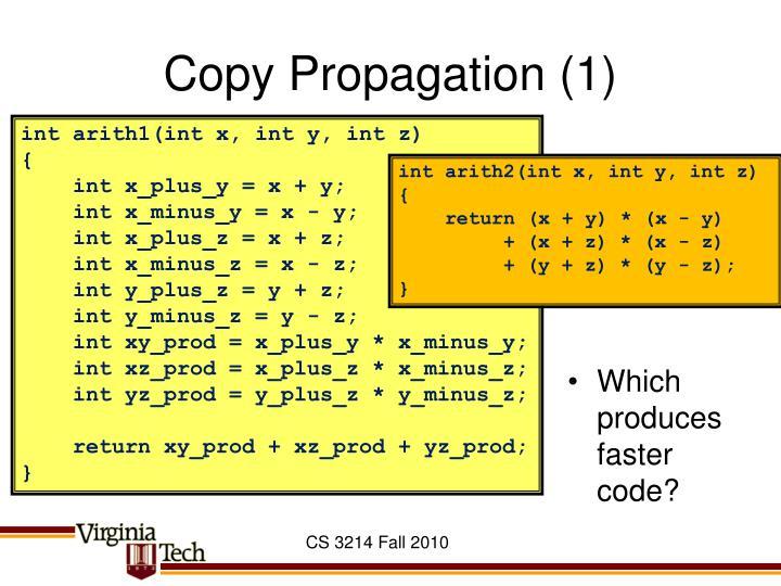 Copy Propagation (1)