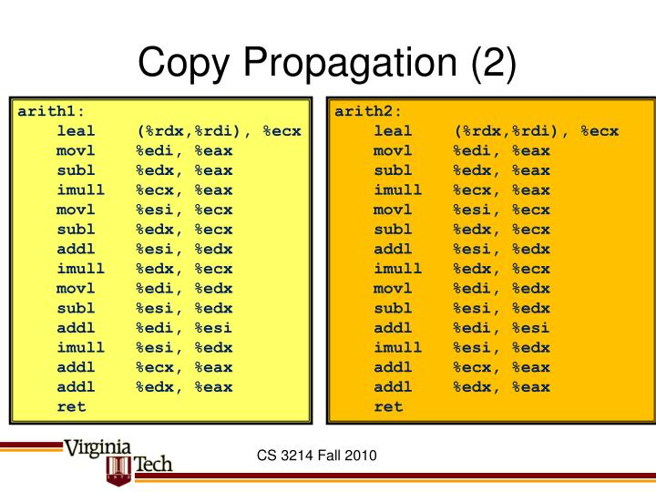 Copy Propagation (2)