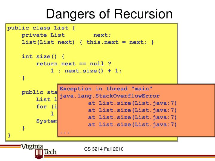 Dangers of Recursion