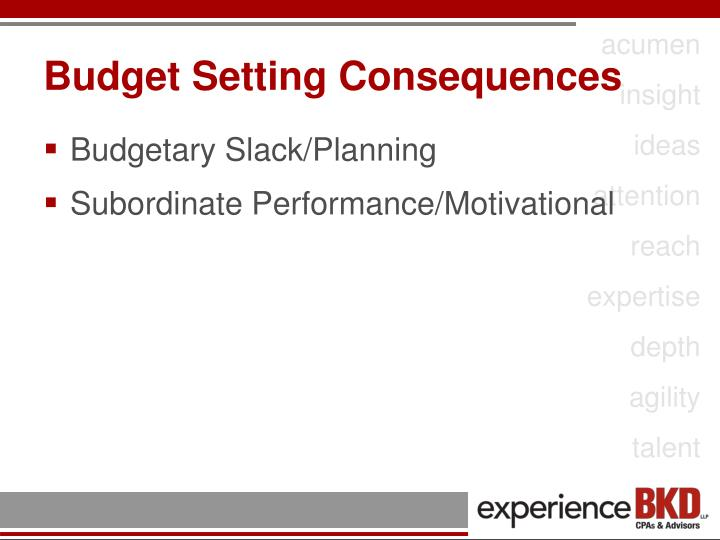 Budget Setting Consequences