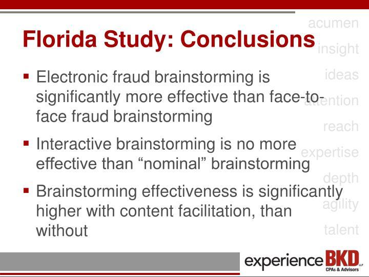Florida Study: Conclusions