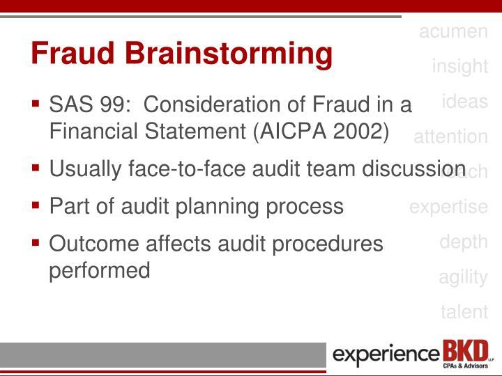 Fraud Brainstorming