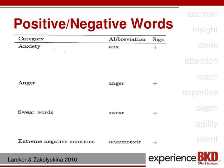 Positive/Negative Words