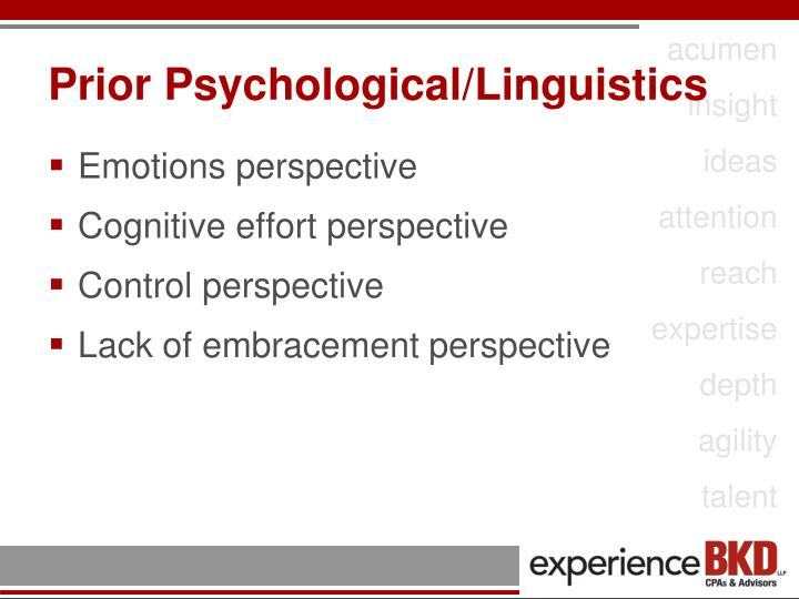 Prior Psychological/Linguistics