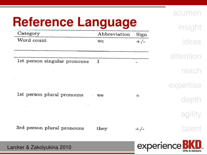 Reference Language