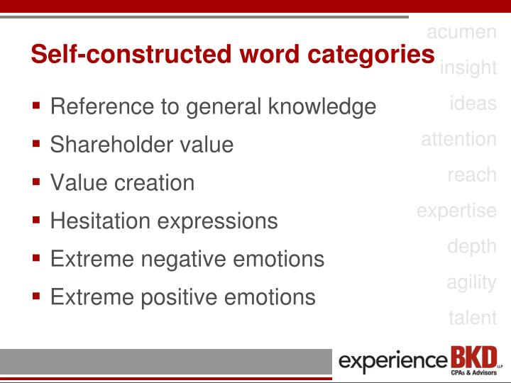 Self-constructed word categories