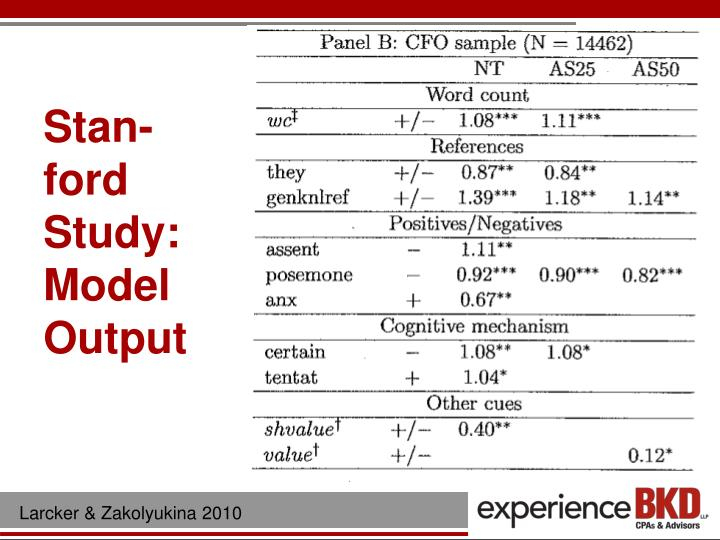 Stan-ford Study: Model Output