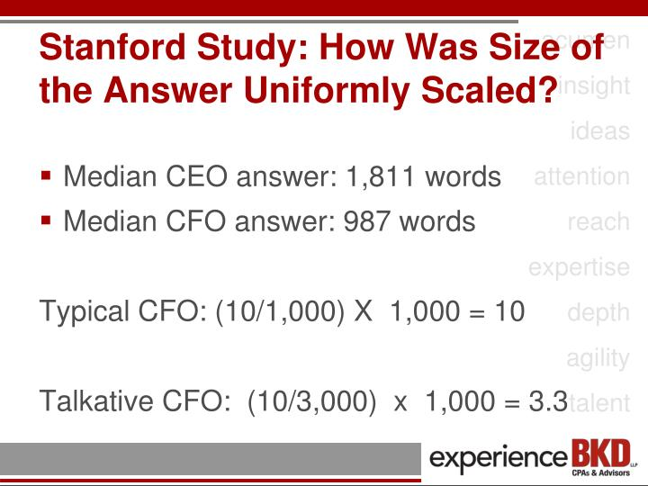 Stanford Study: How Was Size of the Answer Uniformly Scaled?