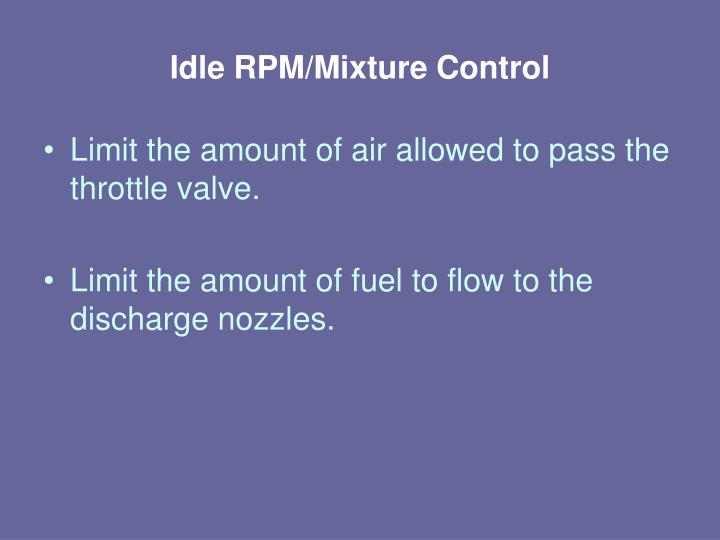Idle RPM/Mixture Control