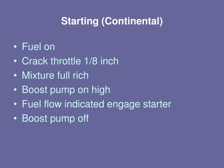 Starting (Continental)
