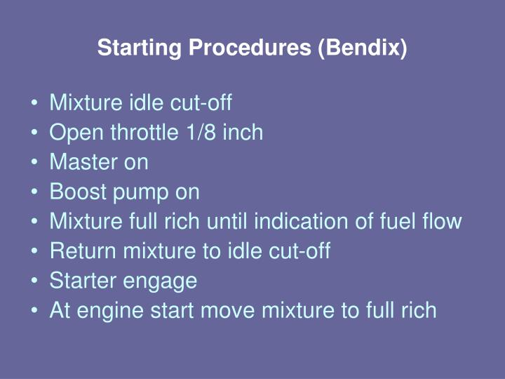 Starting Procedures (Bendix)