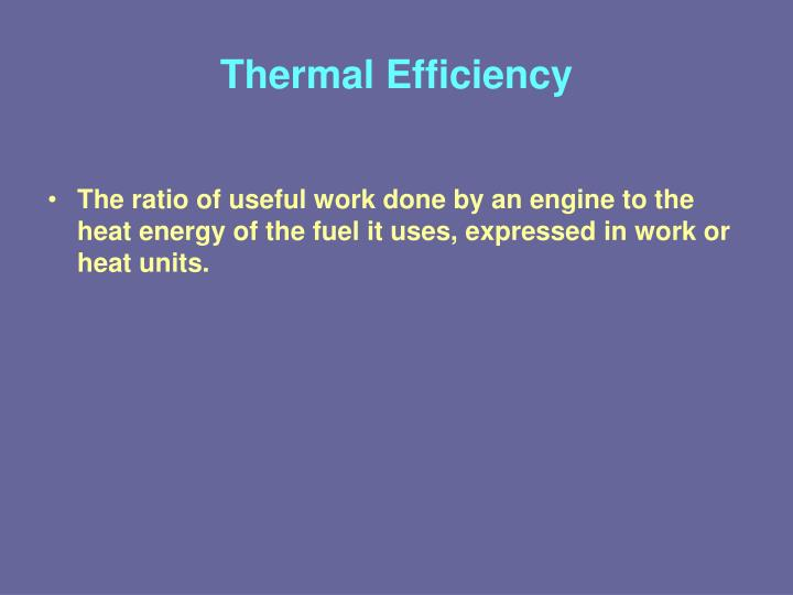 Thermal Efficiency