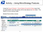 activity using microstrategy features