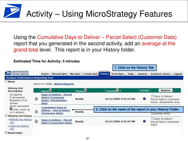 Activity – Using MicroStrategy Features